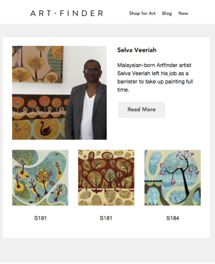 Artworks S191, S184, and S181 were featured in Artfinder's (London) November 2015 newsletter.