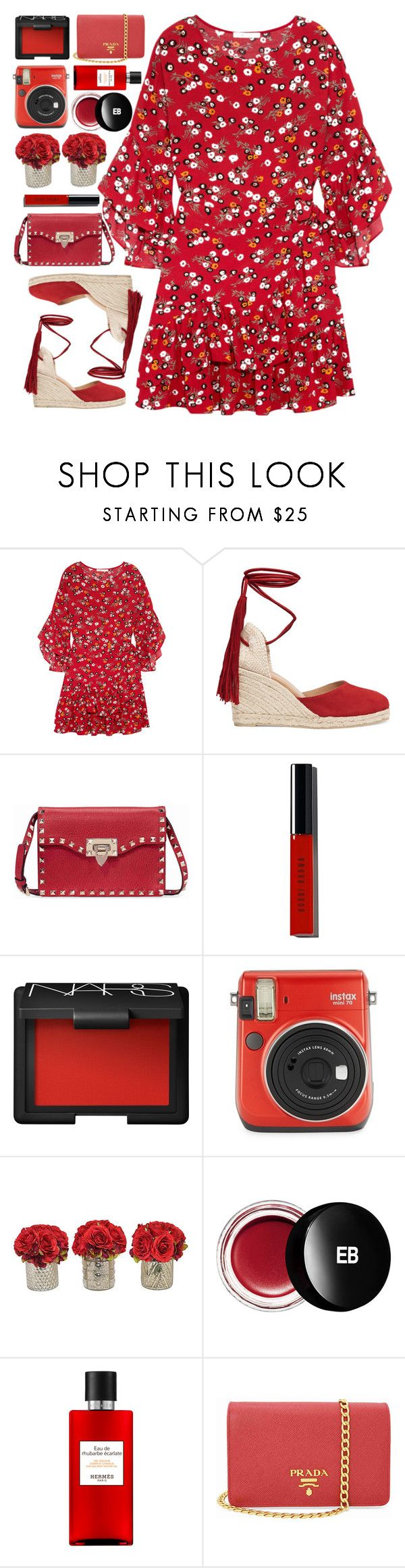 """Lady In Red"" by monmondefou ❤ liked on Polyvore featuring Maje, Castañer, Valentino, Bobbi Brown Cosmetics, NARS Cosmetics, Fuji, The French Bee, Edward Bess, Hermès and Prada"