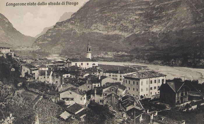 Vista di Longarone dalla strada per Pirago (cartolina di Pompeo Breveglieri)