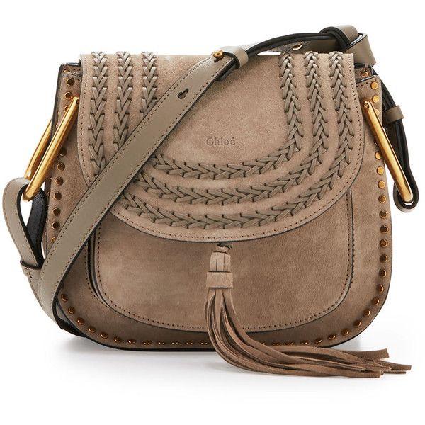 Chloe Hudson Small Suede Shoulder Bag ($2,205) via Polyvore featuring bags, handbags, shoulder bags, light grey, tassel purse, flap purse, chloe purses, suede shoulder bag and tassel handbag