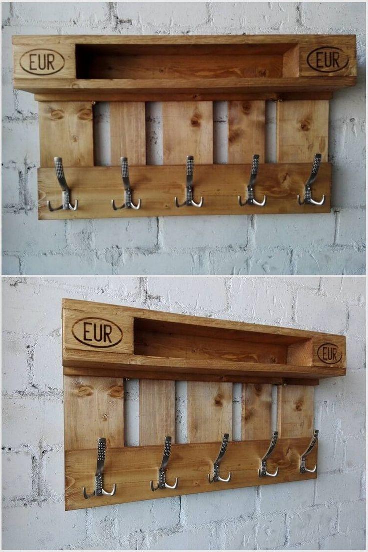 Wood Pallet Coat Hanging Shelf