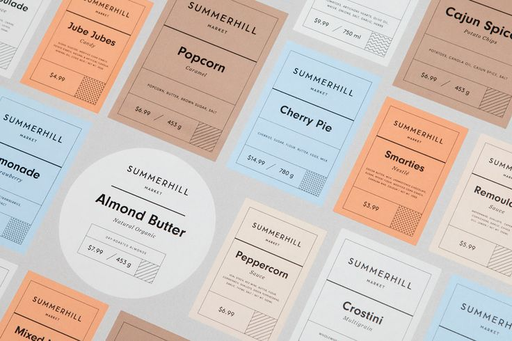 Brand identity and labelling designed by Canadian studio Blok for Toronto based boutique grocery store Summerhill Market