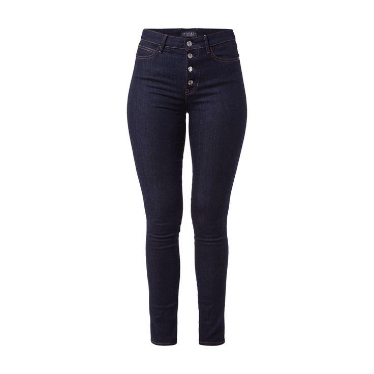 #Guess #Skinny #Fit #High #Waist #Jeans für #Damen - Damen 5-Pocket-Jeans von Guess, Baumwolle mit Stretch-Anteil, Skinny Fit, High Waist, Rinsed Washed, Knopfleiste, Kontrastnähte, Metall-Logo auf der Gesäßtasche, Innenbeinlänge bei Größe 27/31: 77,5 cm, Bundweite bei Größe 27/31: 71 cm