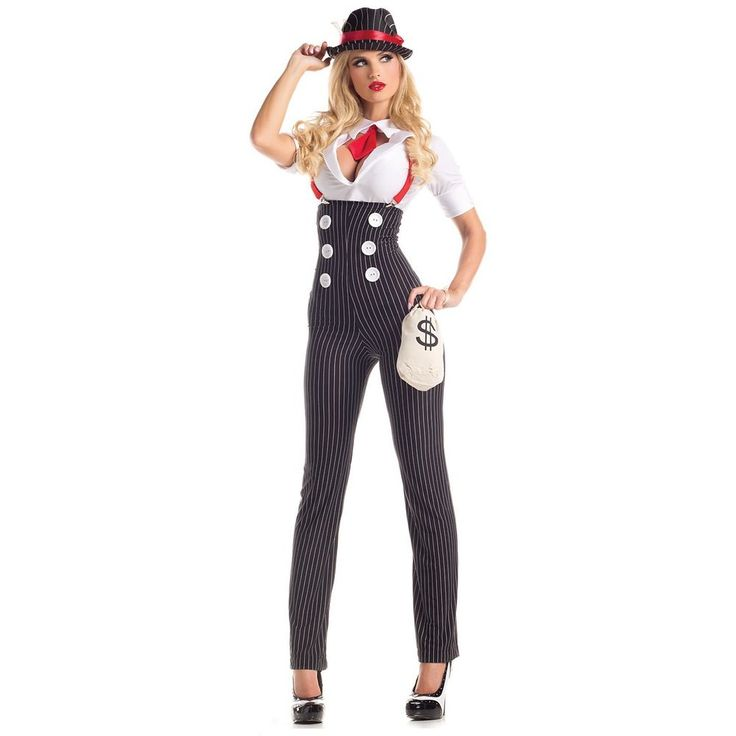 Gangster Costume Adult 20s Mafia Girl Bonnie and Clyde Halloween Fancy Dress in Clothing, Shoes & Accessories, Costumes, Reenactment, Theater, Costumes | eBay