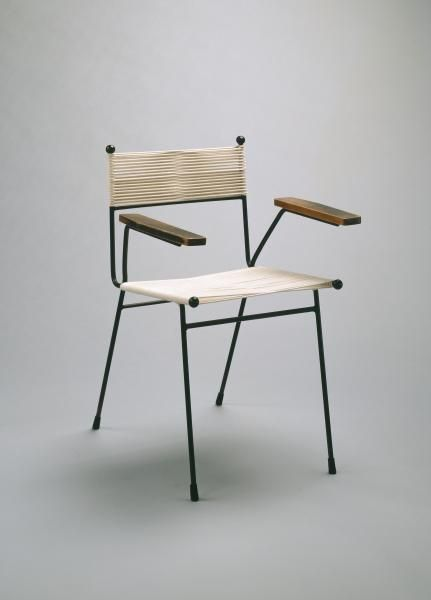 Clement Meadmore; Enameled Metal, Wood and Cord Chair, c1952.