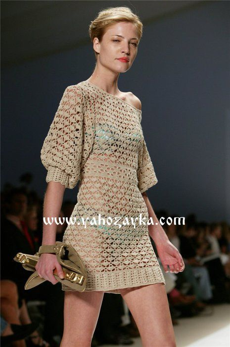 Платье с рукавом 3/4 крючком. Красивое ажурное платье связано крючком | Я Хозяйка