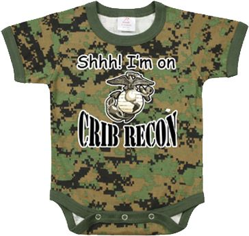 "Baby Onesie: Woodland Camo ""Recon""....haha you can bet my kid will have this"