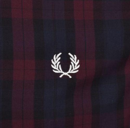 Фред-Перри-Рубашка-Регистрация-Зима-Клетчатой-Рубашке-Красное Дерево-M9530-799