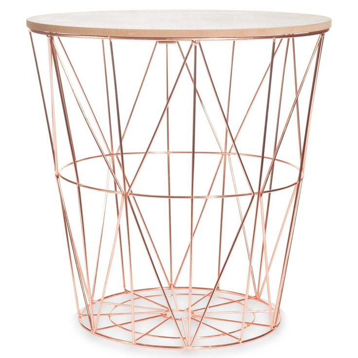 ZIGZAG COPPER metal side table, D40cm £26.99 - potential bedside table