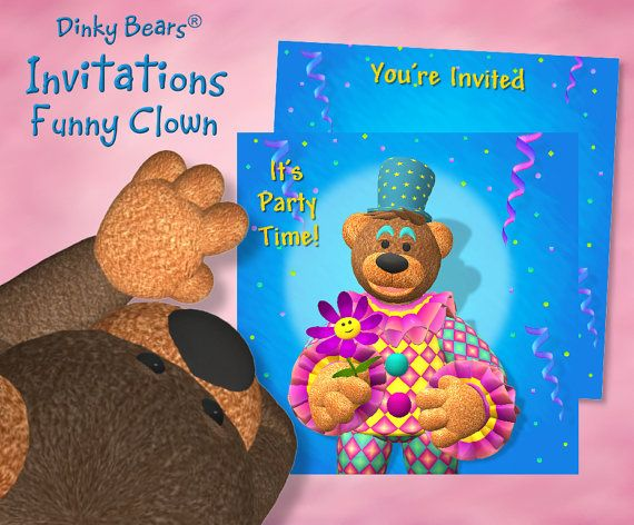 Dinky Bears - Clown with Flower Invitations -  Digital Download by DinkyPrints