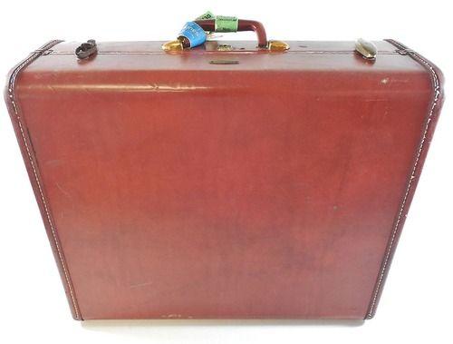 """Vtg 21"""""""" Samsonite Red Brown Luggage Hard Case Suitcase 4951, Shwayder Denver USA"""