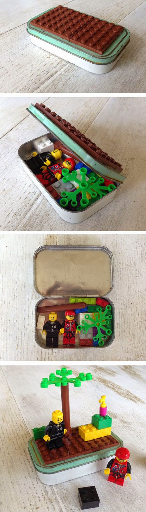 Boîte à légos. Coller une ou deux plaques légos au-dessus de la boîte en fer, ranger les personnages et accessoires préférés.