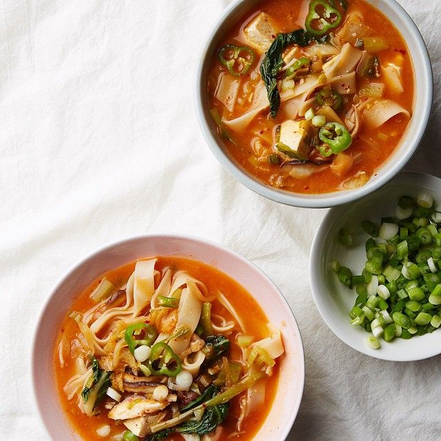 Kimchi and tofu rice noodle stew #vegan