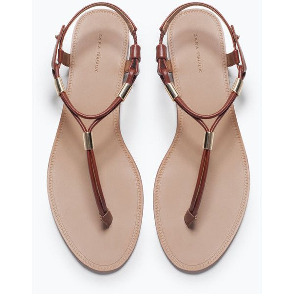 Zara Flat Sandals With Gold-Tone Detail found on Polyvore