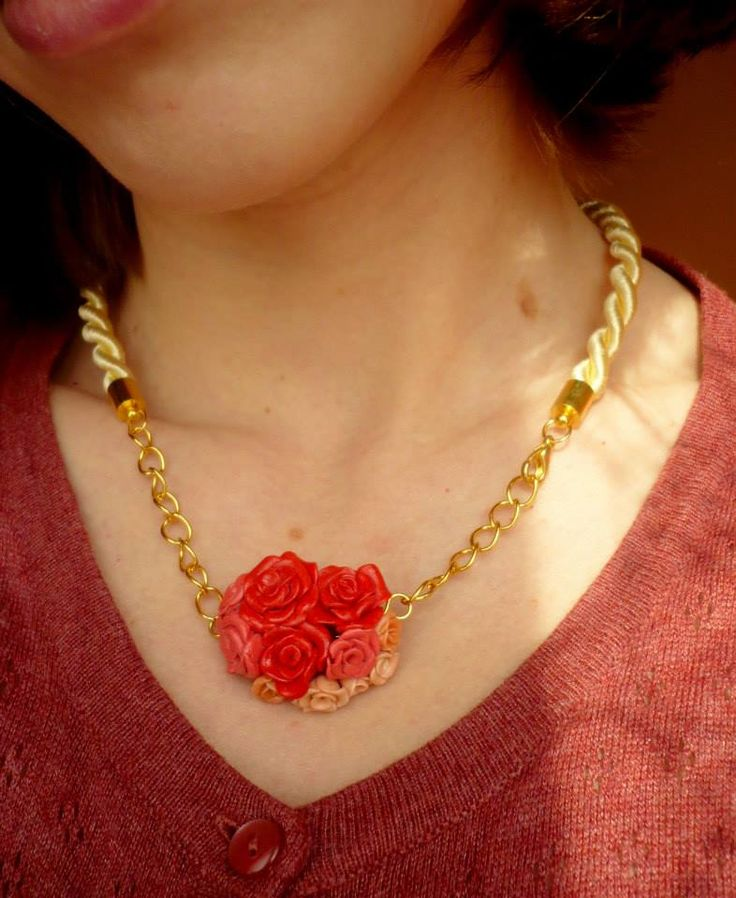 Handmade necklace, modelling clay