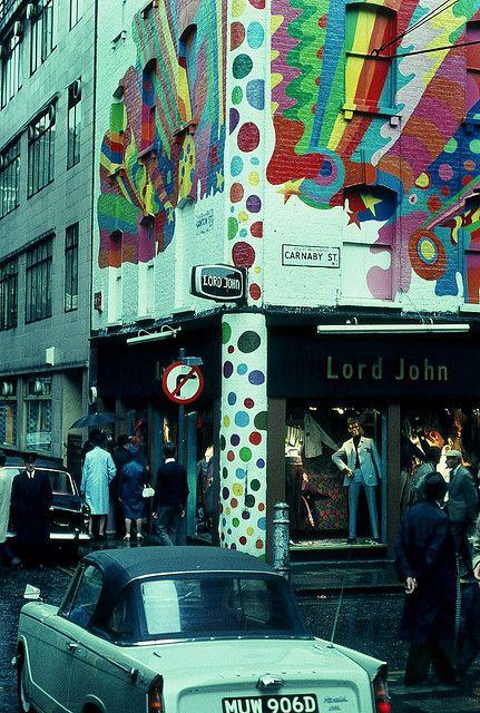 Shops in Carnaby Street, London -- 1968.