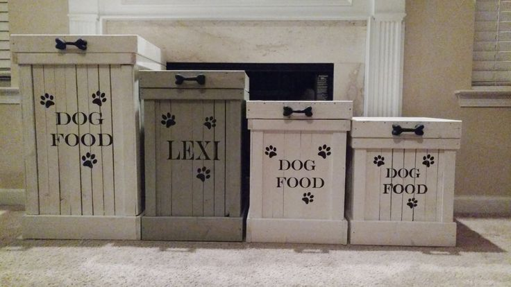Wood Pet Food Container- Pet Food Storage- Dog Food Container- Dog Food Storage- Rustic Dog Food Storage- White Wash- Doggy- Animal Lover by OurTwistedCreations on Etsy