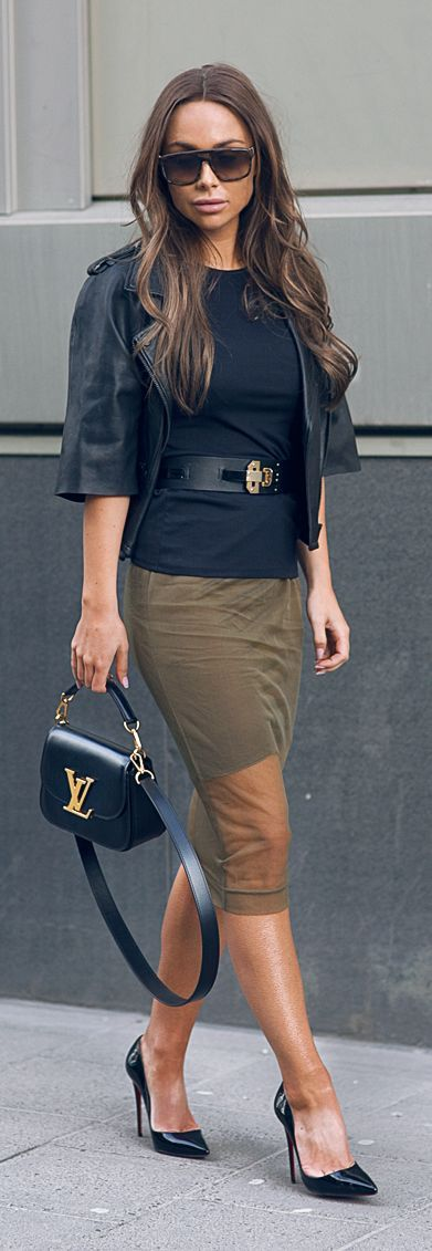 Olive sheer skirt, belt and leather crop blazer