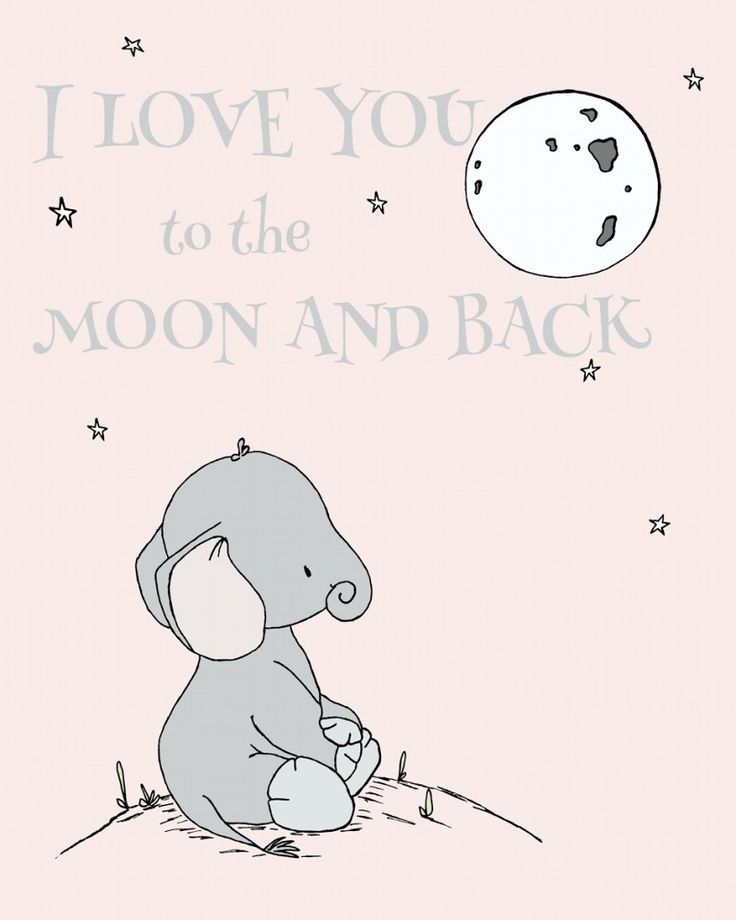 """Adorable """"I Love You To The Moon And Back"""" Elephant Print from @carrietomaschko's #sweetmelodydesigns  - perfect for the nursery!"""