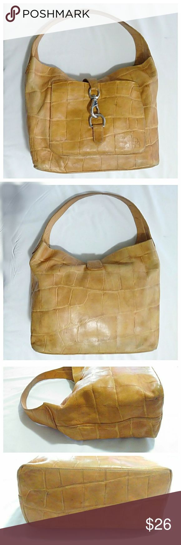 """Dooney & Bourke Croc Leather Hobo Old school Dooney with lots of room and semi-structured sides making it easier to find what you're looking for. As you can see it shows a lot of wear, but is in good shape overall. The color is a mustard/tan color. Measures 11"""" H x 12"""" L x 5"""" W + 8"""" strap drop. 💥 Reasonable Offers Accepted 💥 Dooney & Bourke Bags Hobos"""