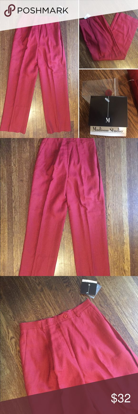 🆕 Madison Studio Dark Red Linen Lined Pants 6 New with tags Madison Studio Lined linen Pants with pockets in a size ladies 6. Pants come in a deep red, brick color and have been kept smoke free. MEASUREMENTS: waist from hem to hem lying flat - 14 inches flat. The length is 42.5 inches. RETAIL: $69 Madison Studio Pants Trousers