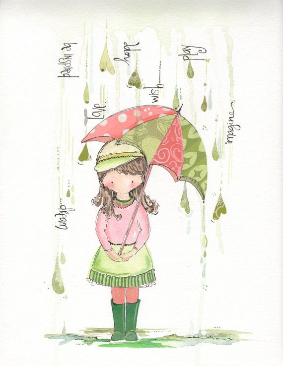 """Little girls illustration watercolor and ink art wall hanging """"Sweet Raindrops"""""""