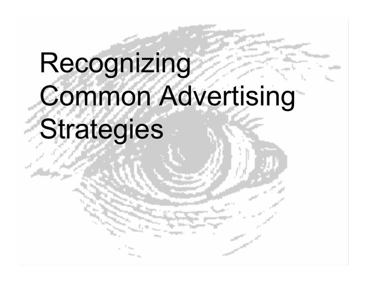 Common Advertising Strategies