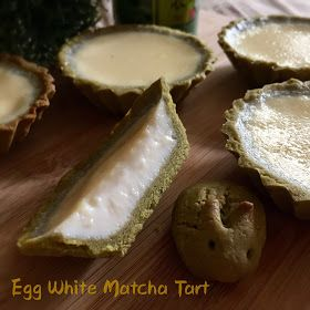 A matcha cookie tart with silky egg white custard. The tart shells were crispy when hot, but softened a little hours later. Owing to the ...