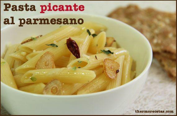 Pasta picante al parmesano - http://www.thermorecetas.com/2013/10/03/pasta-picante-al-parmesano/