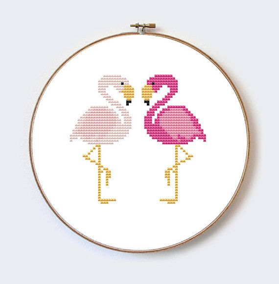 Buy 2 Get 1 Free Two lovers Flamingos modern cross stitch pattern - perfect for beginners - PDF format - instant download