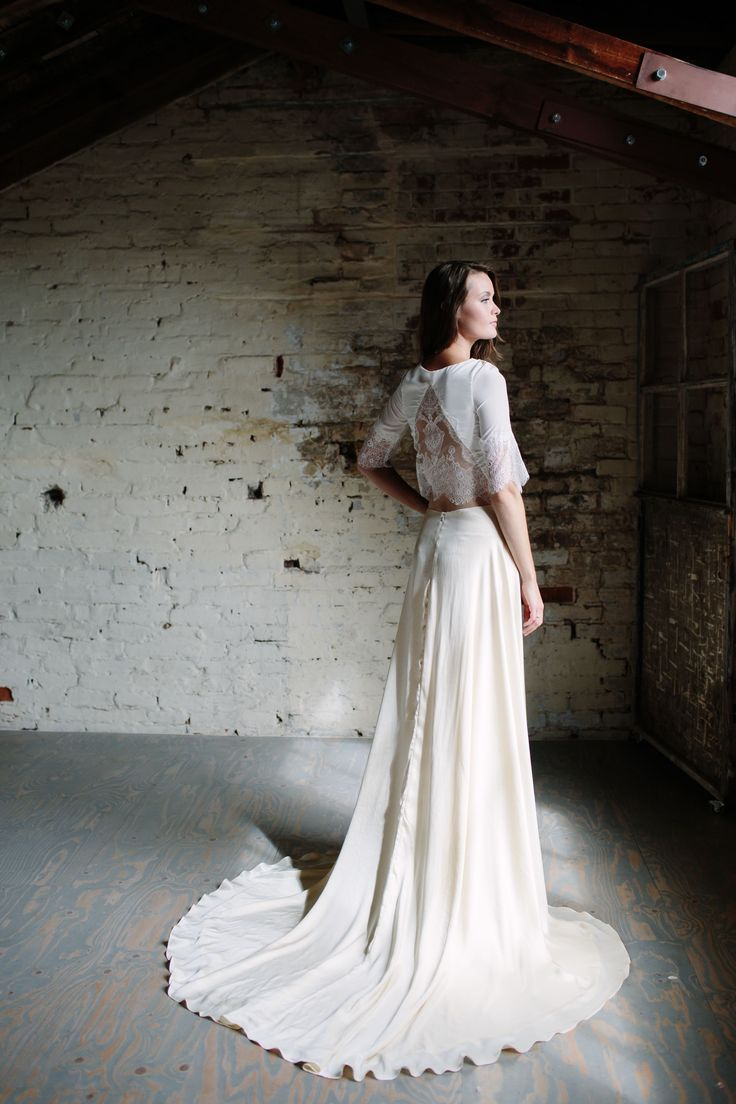 G R A C E / S O F I A   The Grace Skirt is made of the softest silk in a dark cream. A straight A line with a billowing train, it truly represents it's name sake.  Sofia is a silk crepe de chine top with an illusion back and appliqued lace detail.  ____________________ Image by @joannabrownphotos Modelled by @charverity Hair and make up by @beautifullyhitched