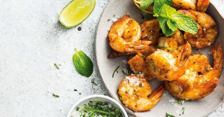 For finger food that packs a punch, you can't go past these chilli-spiced prawns with lime and mint salt.