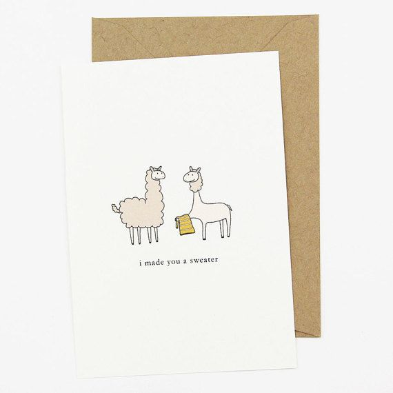 Funny Llama Card Shaved Llama Giving Sweater by TheFuzzyDotStudio