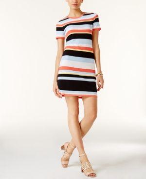 Michael Michael Kors Petite Cabana Striped T-Shirt Dress - White P/XS