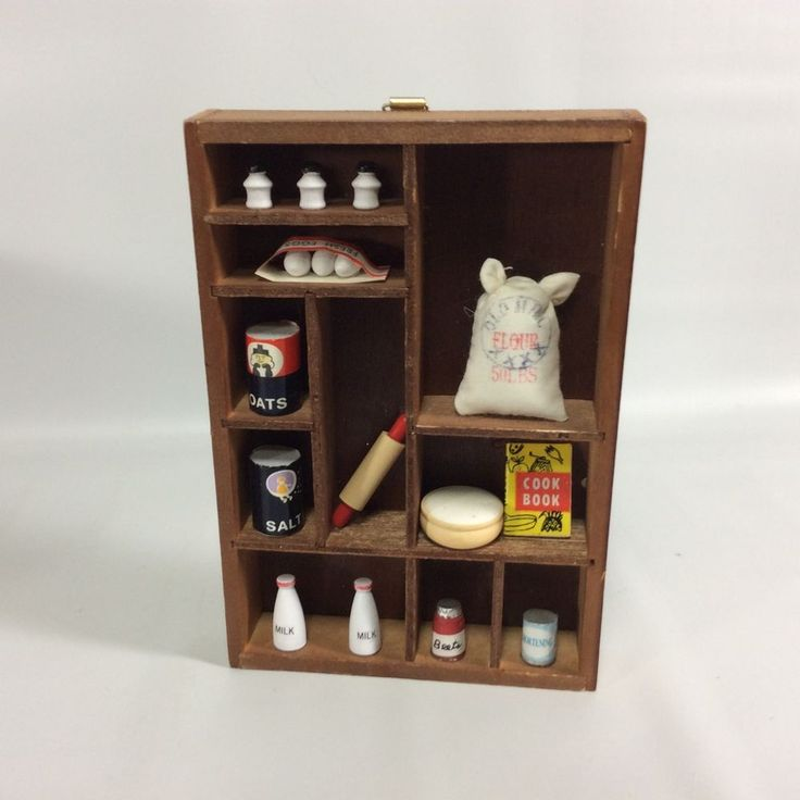 Vintage Shadow Box Kitchen Pantry Country Miniatures 1950 Farmhouse Display #Unbranded #Americana