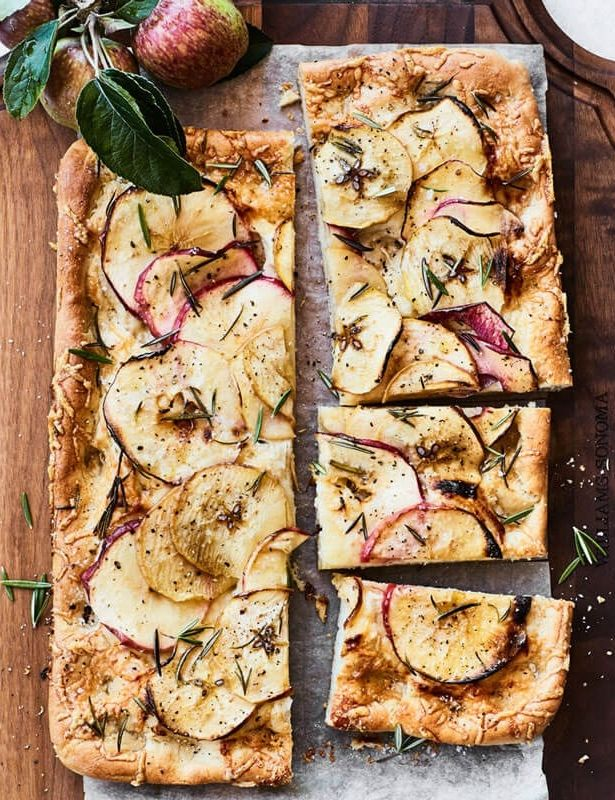 Apple Focaccia with Gruyère and Rosemary | Cut this savory focaccia into slices and serve with cocktails or sparkling wine at your next fall party.