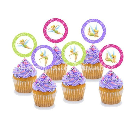Tinkerbell cupcake Toppers Tinkerbell cake by HappywithPrintables