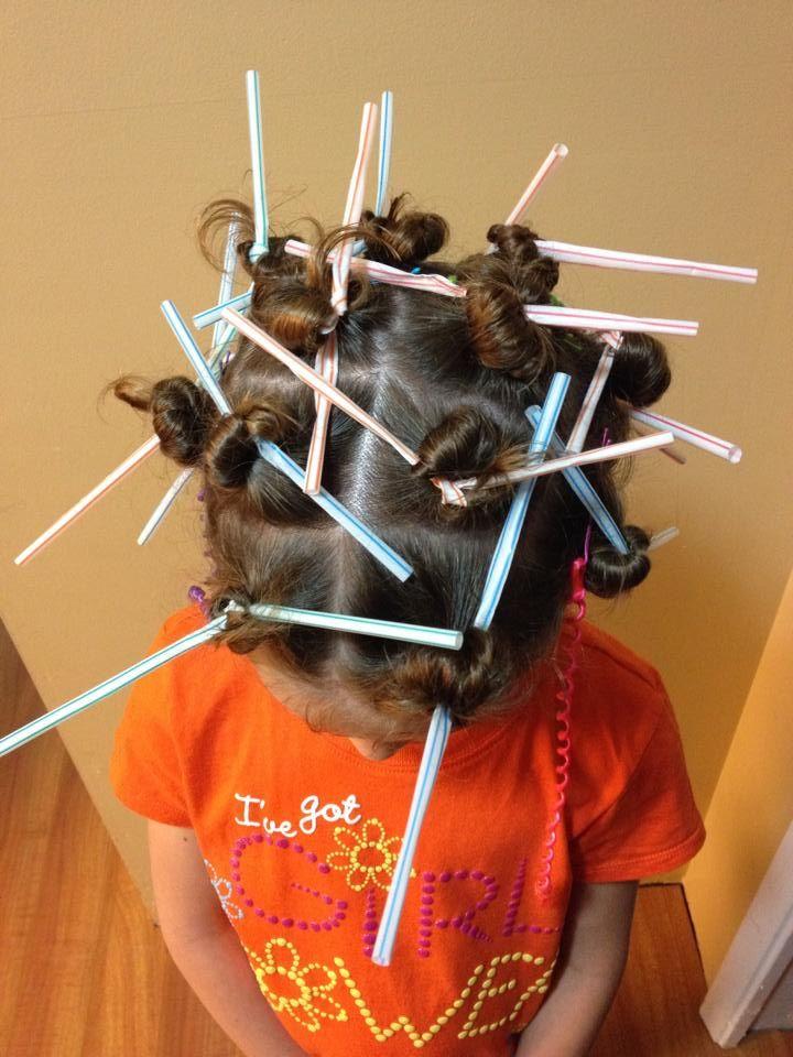 Wacky Hair Day. Wacky Wednesday. Crazy Hair. Straws.