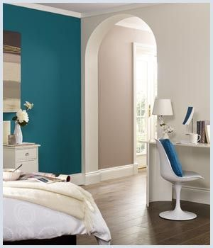 Teal Accent Wall With Light Gray Walls, Spare Bedroom Option.