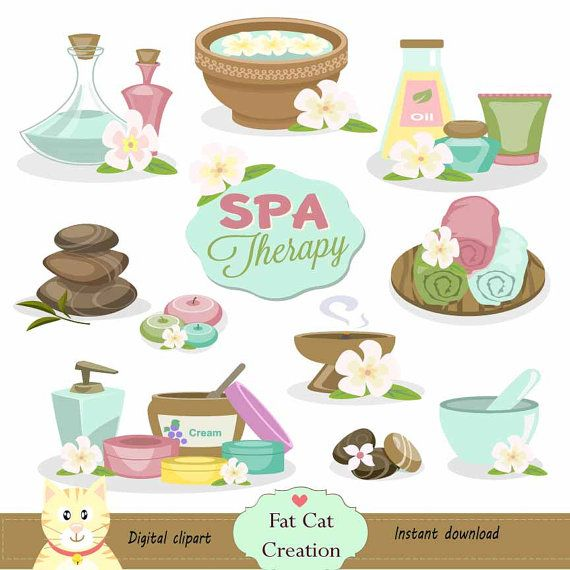 Spa Therapy clipartdigital illustration  web by FatCatCreation