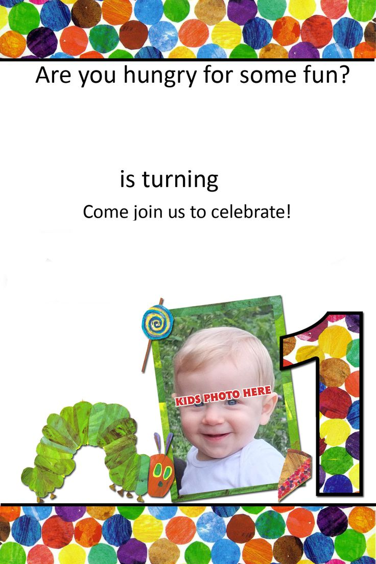 Get FREE Template Free Printable Very Hungry Caterpillar 1st Birthday Invitation