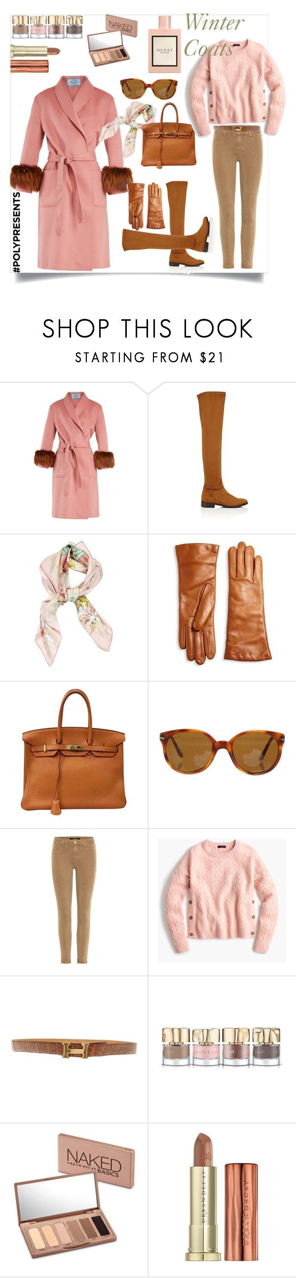 """""""Sunday morning in Montenapoleone"""" by oliviabing ❤ liked on Polyvore featuring Prada, Barneys New York, Hermès, Saks Fifth Avenue Collection, Persol, J Brand, J.Crew, Smith & Cult, Urban Decay and Gucci"""