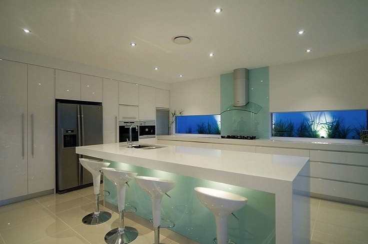 Blue #blue #splashback #kitchen #white