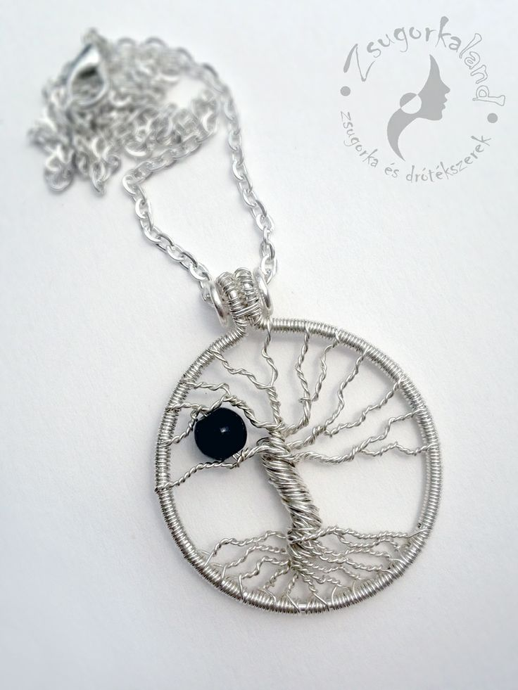Silver plated handmade tree pendant with onix mineral pearl www.facebook.com/Zsugorkaland