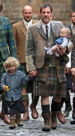 Howie Nicholsby's 21st Century Kilts offer a unique take, and are a fitting homage, to a traditional Scottish style. The use of original textiles, ranging from leather, gold and purple denim, camouflage, to pinstripe offer something different to those fond of this age old item.