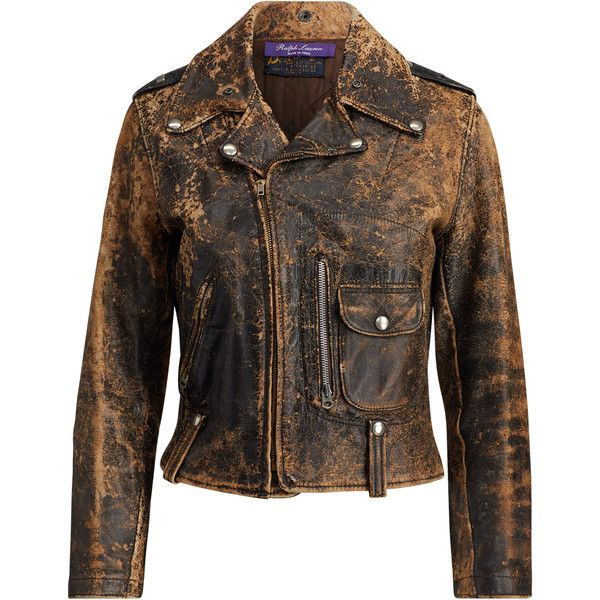 Ralph Lauren Dwight Leather Jacket ($3,490) ❤ liked on Polyvore featuring outerwear, jackets, black, 100 leather jacket, biker style leather jacket, ralph lauren, leather jackets and leather biker jackets