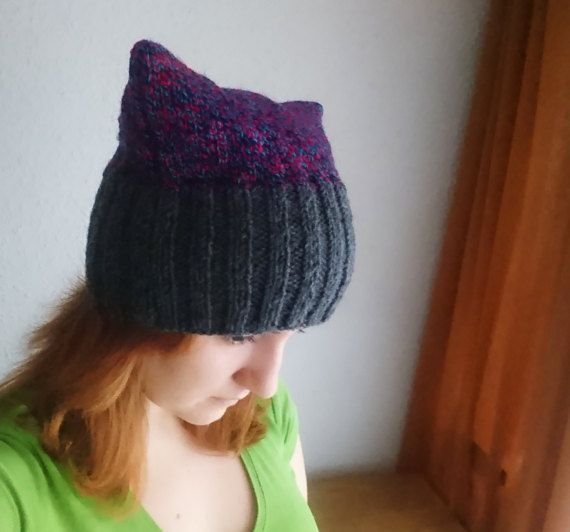 Red blue and grey pussycat hat Knitted purple by MKedraHandmade