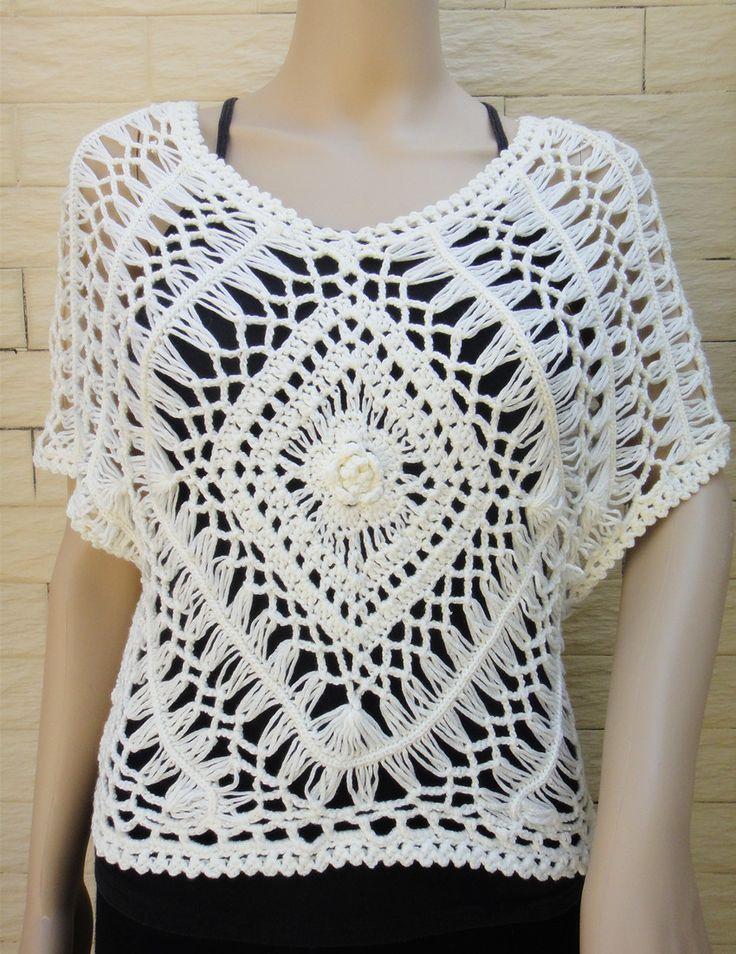 Boho Women Lace Blouse Short Sleeve Hairpin Crochet Pattern - Click Image to Close