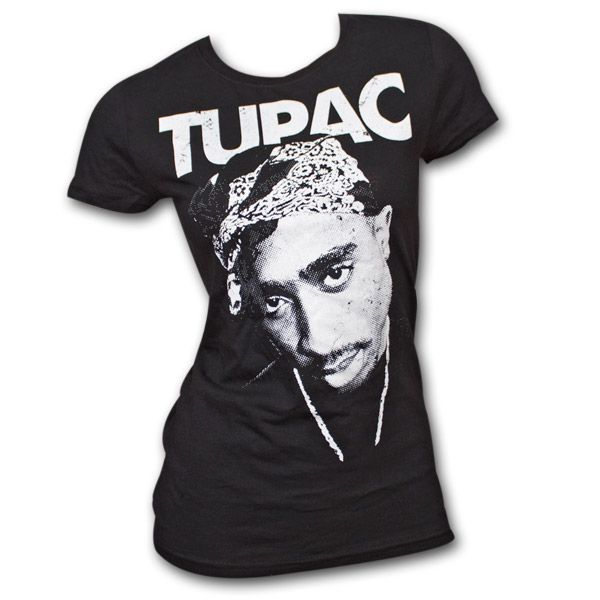 Tupac+Distressed+Portrait+Black+Juniors+Graphic+T-Shirt