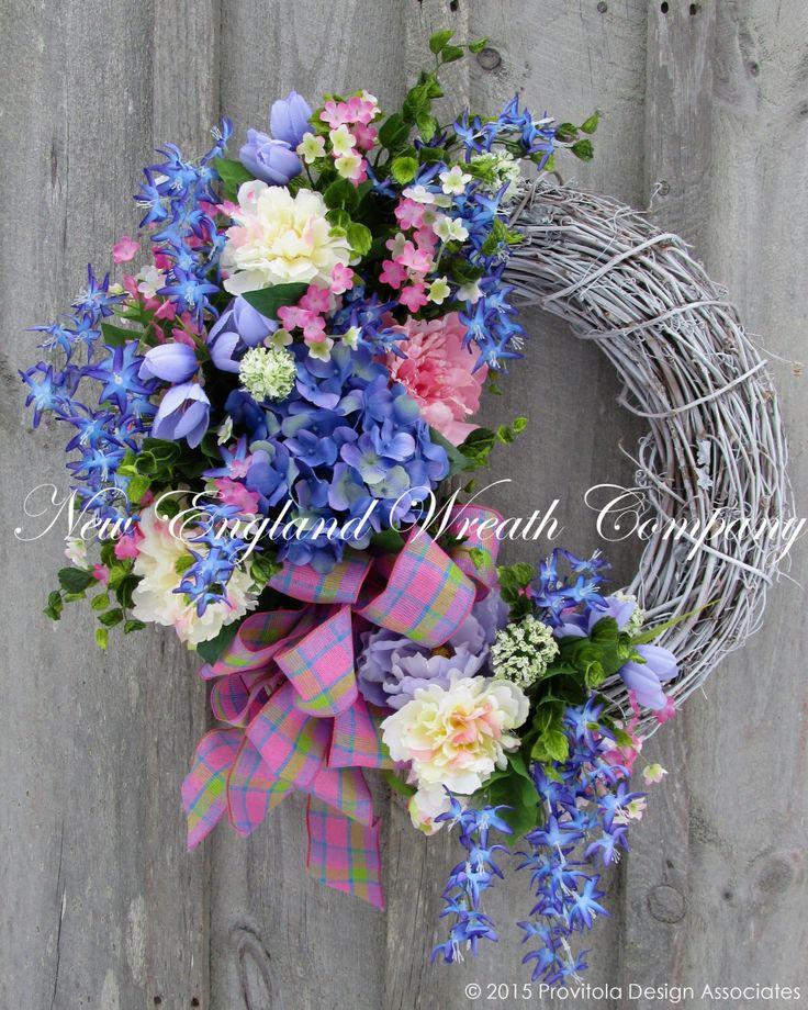 Spring Wreath, Easter Wreath, Spring Floral Wreath, Elegant Spring Wreath, Cottage Wreath, Country French, Wedding Decor, Designer Wreath by NewEnglandWreath on Etsy https://www.etsy.com/listing/222747357/spring-wreath-easter-wreath-spring